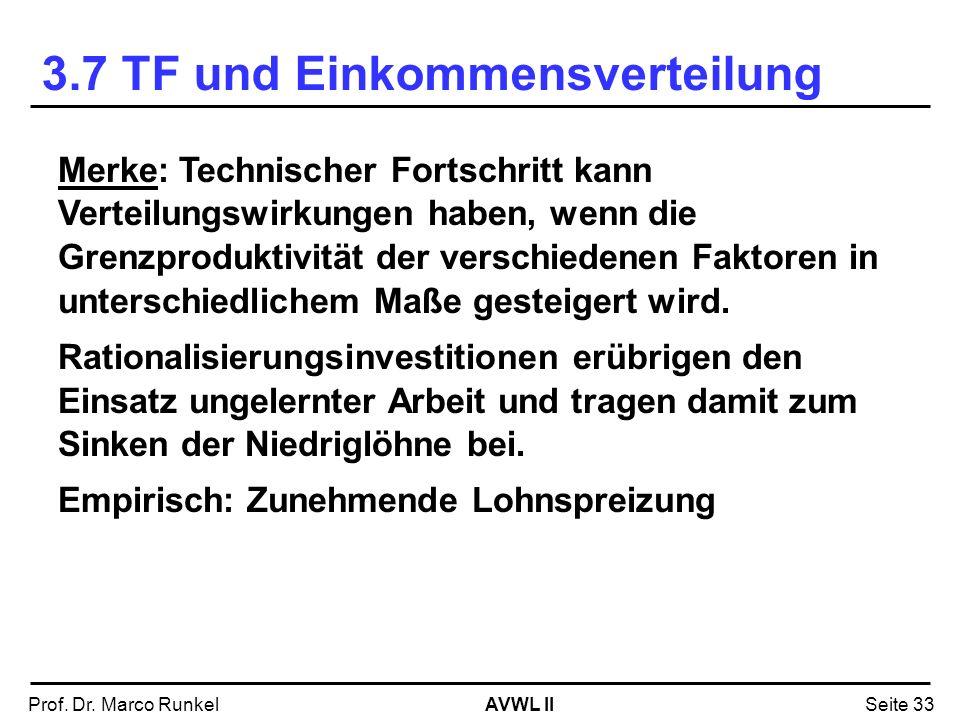 AVWL IIProf. Dr. Marco RunkelSeite 33 Merke: Technischer Fortschritt kann Verteilungswirkungen haben, wenn die Grenzproduktivität der verschiedenen Fa