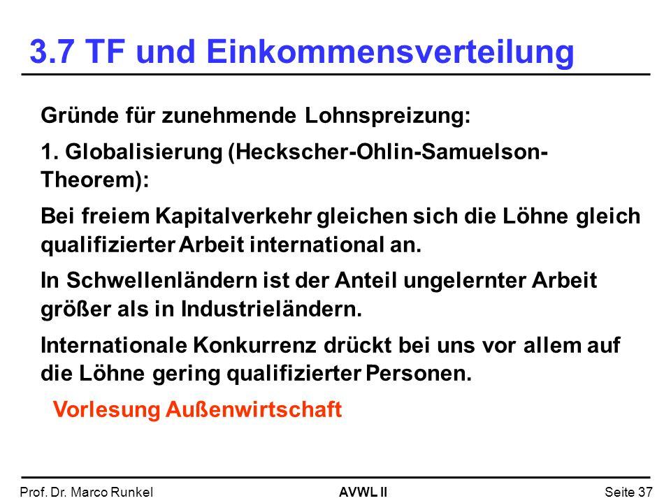 AVWL IIProf. Dr. Marco RunkelSeite 37 Gründe für zunehmende Lohnspreizung: 1. Globalisierung (Heckscher-Ohlin-Samuelson- Theorem): Bei freiem Kapitalv