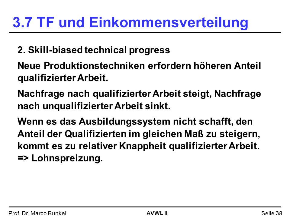 AVWL IIProf. Dr. Marco RunkelSeite 38 2. Skill-biased technical progress Neue Produktionstechniken erfordern höheren Anteil qualifizierter Arbeit. Nac