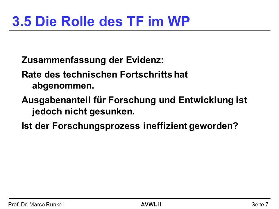 AVWL IIProf. Dr. Marco RunkelSeite 7 Zusammenfassung der Evidenz: Rate des technischen Fortschritts hat abgenommen. Ausgabenanteil für Forschung und E