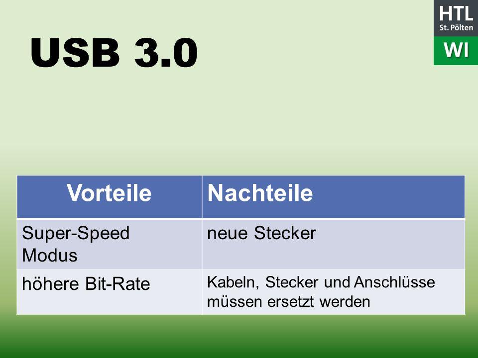 USB 3.0 VorteileNachteile Super-Speed Modus neue Stecker höhere Bit-Rate Kabeln, Stecker und Anschlüsse müssen ersetzt werden