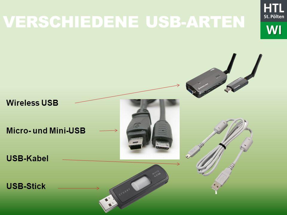 VERSCHIEDENE USB-ARTEN Wireless USB Micro- und Mini-USB USB-Kabel USB-Stick