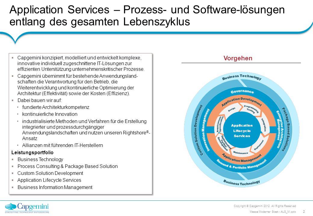 Application Services – Prozess- und Software-lösungen entlang des gesamten Lebenszyklus Copyright © Capgemini 2012. All Rights Reserved 2 Messe Modern