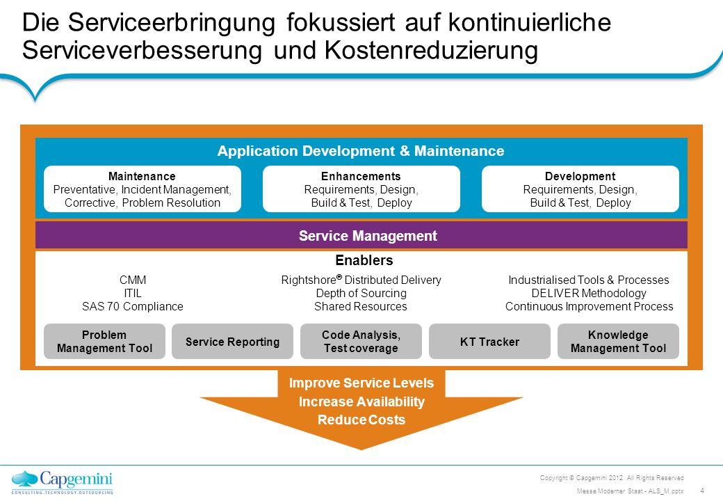 Der Capgemini Service Ansatz unterteilt sich in unterschiedliche Phasen Copyright © Capgemini 2012.