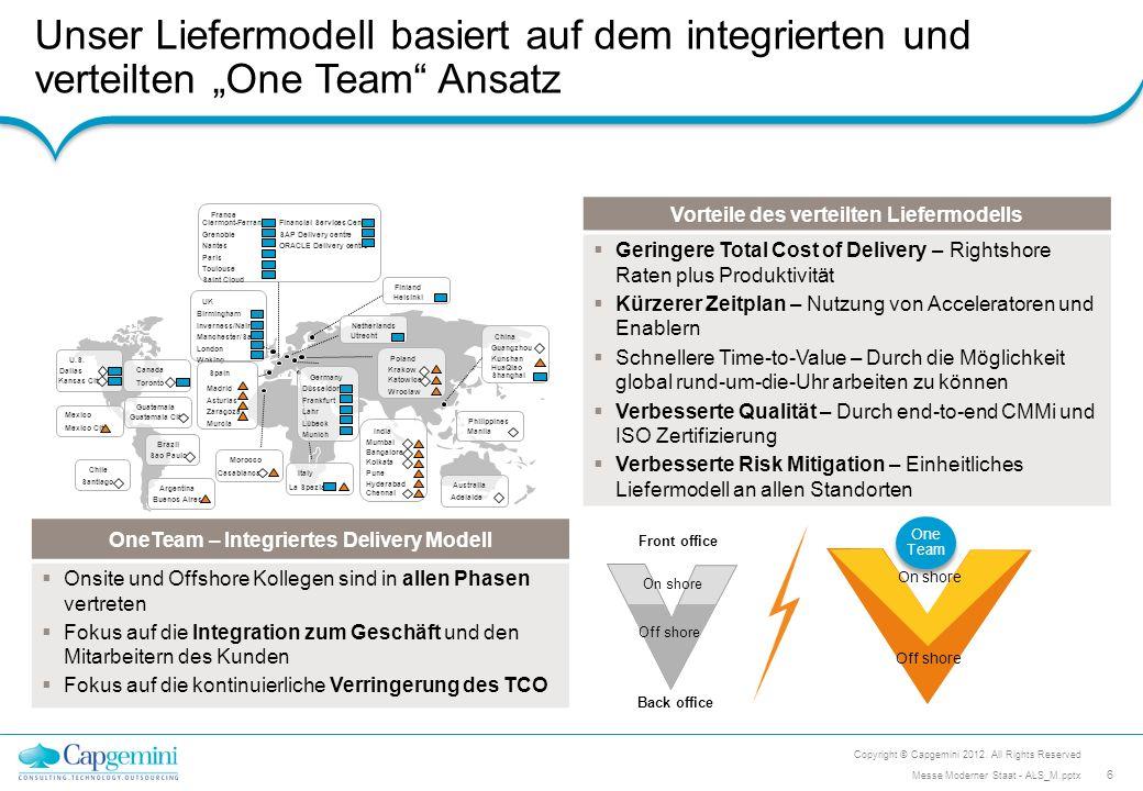 Unser Liefermodell basiert auf dem integrierten und verteilten One Team Ansatz Copyright © Capgemini 2012. All Rights Reserved 6 Messe Moderner Staat