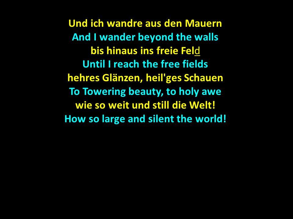 Sterne hoch die Kreise schlingen The stars above revolve in circles aus des Schnee s Einsamkeit And out of the solitude of the snow steigt s wie wunderbares Singen Rises a wonderful singing Oh Du gnadenreiche Zeit.