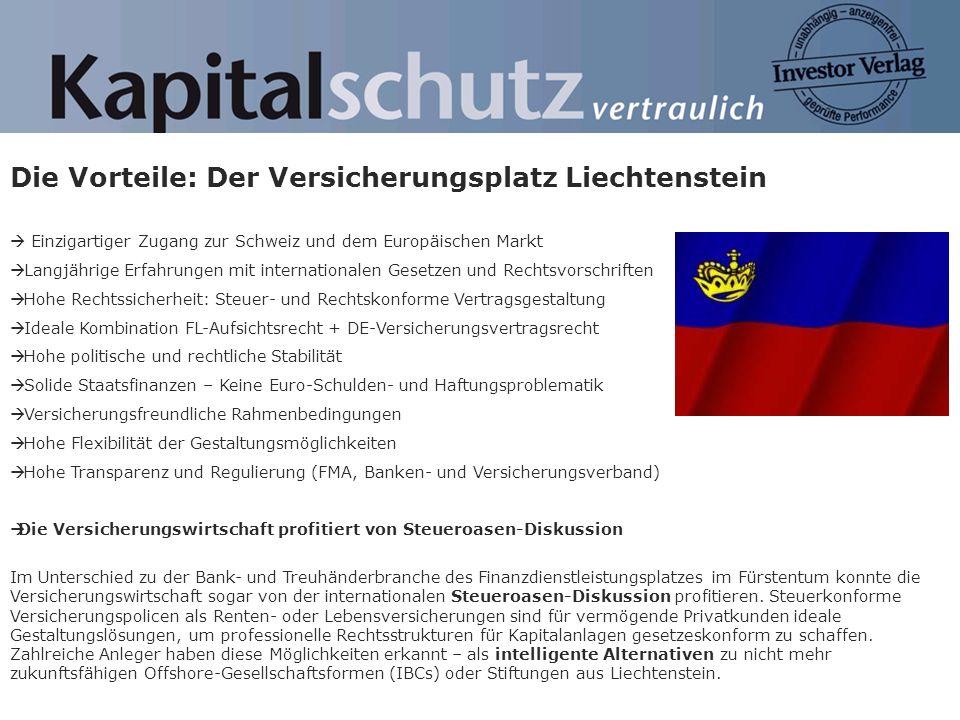 Die Vorteile: Der Versicherungsplatz Liechtenstein Einzigartiger Zugang zur Schweiz und dem Europäischen Markt Langjährige Erfahrungen mit internation