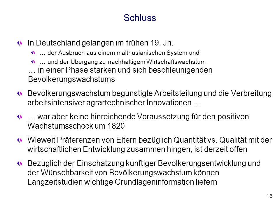 Schluss In Deutschland gelangen im frühen 19. Jh. … der Ausbruch aus einem malthusianischen System und … und der Übergang zu nachhaltigem Wirtschaftsw