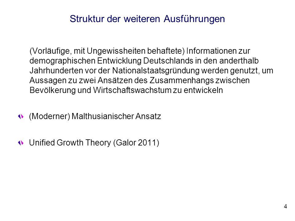 Struktur der weiteren Ausführungen (Vorläufige, mit Ungewissheiten behaftete) Informationen zur demographischen Entwicklung Deutschlands in den andert