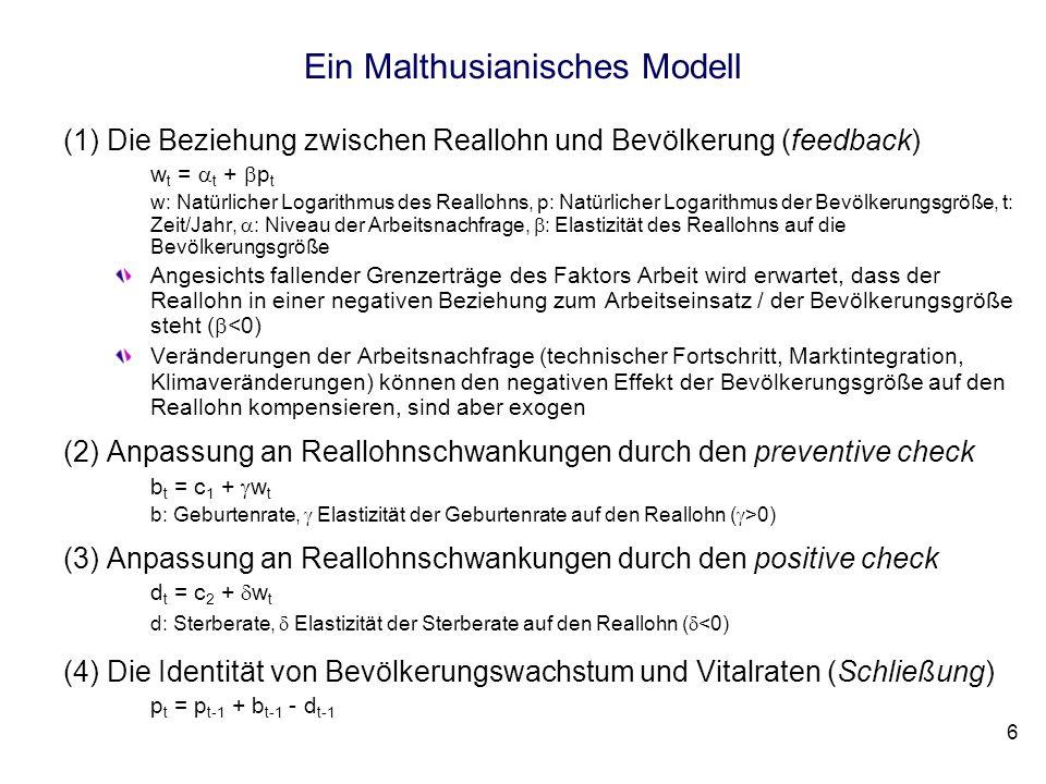 6 Ein Malthusianisches Modell (1)Die Beziehung zwischen Reallohn und Bevölkerung (feedback) w t = t + p t w: Natürlicher Logarithmus des Reallohns, p: