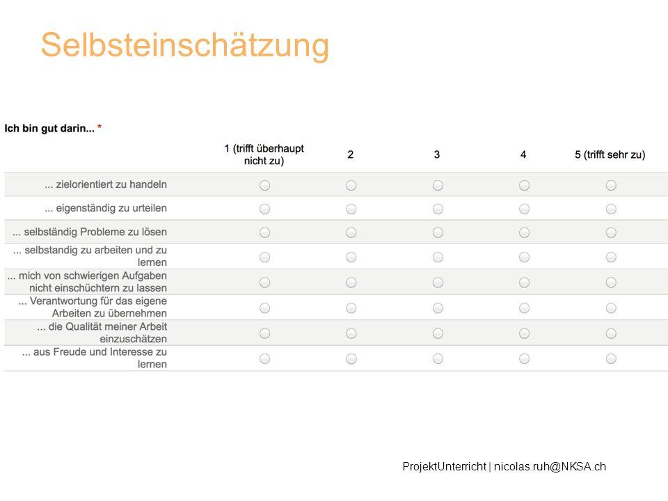Selbsteinschätzung ProjektUnterricht | nicolas.ruh@NKSA.ch