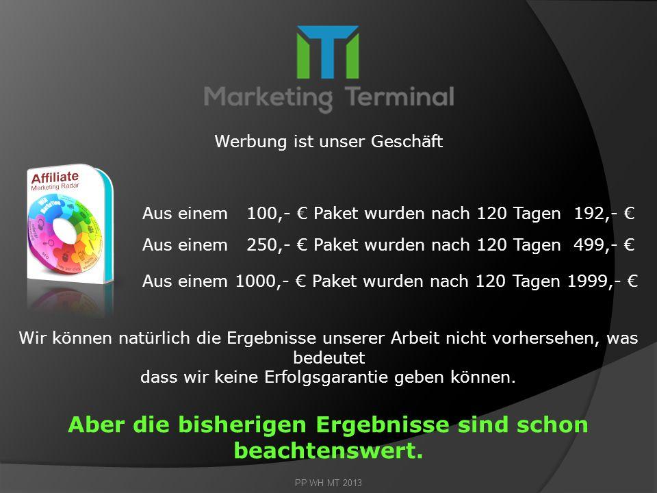 Ihre Chance Marketing Terminal GmbH bietet Ihnen eine komplette Dienstleistung an die Ihnen die Arbeit vollständig abnimmt. Sie Kaufen ein Paket und M