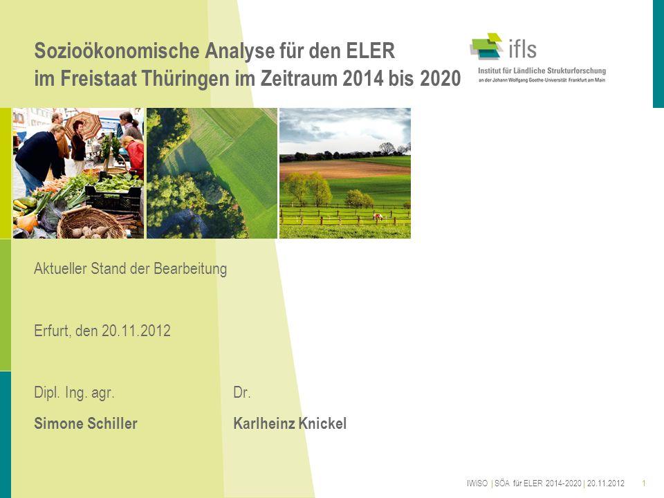 Sozioökonomische Analyse für den ELER im Freistaat Thüringen im Zeitraum 2014 bis 2020 Aktueller Stand der Bearbeitung Erfurt, den 20.11.2012 Dipl. In