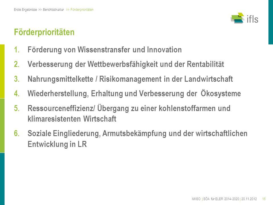 16 Förderprioritäten 1.Förderung von Wissenstransfer und Innovation 2.Verbesserung der Wettbewerbsfähigkeit und der Rentabilität 3.Nahrungsmittelkette