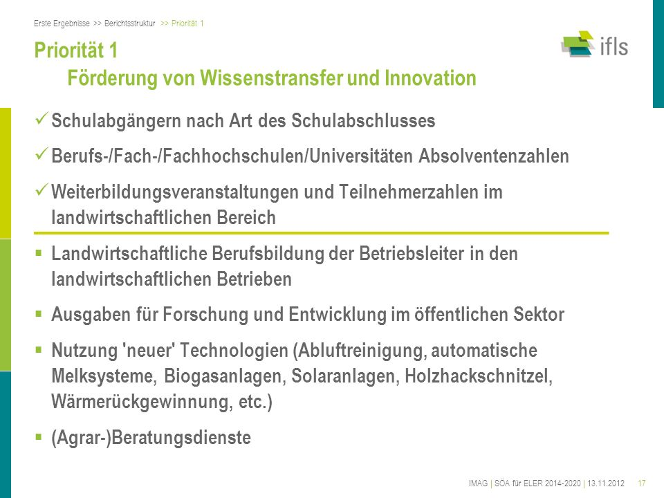 17IMAG | SÖA für ELER 2014-2020 | 13.11.2012 Priorität 1 Förderung von Wissenstransfer und Innovation Schulabgängern nach Art des Schulabschlusses Ber
