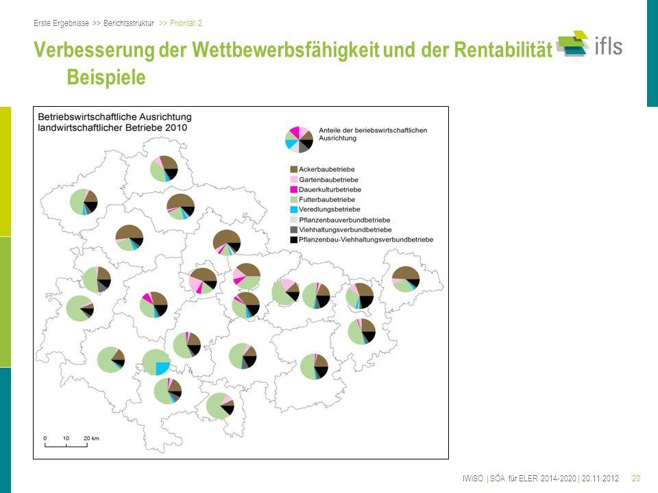 20 Verbesserung der Wettbewerbsfähigkeit und der Rentabilität Beispiele Erste Ergebnisse >> Berichtsstruktur >> Priorität 2 IWiSO | SÖA für ELER 2014-