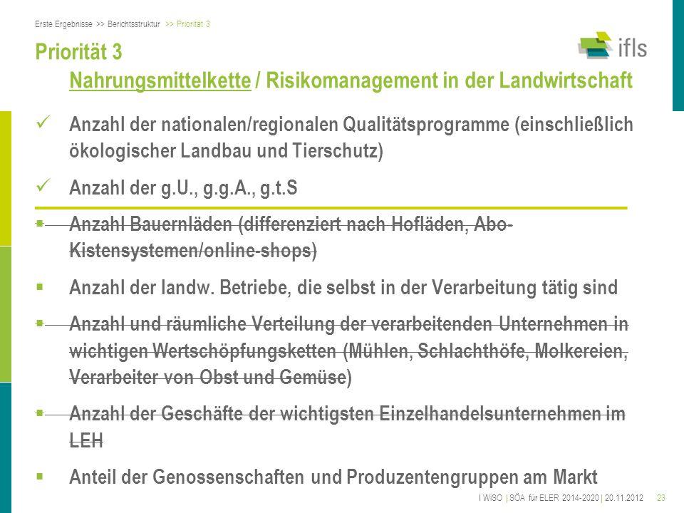 23 Priorität 3 Nahrungsmittelkette / Risikomanagement in der Landwirtschaft Anzahl der nationalen/regionalen Qualitätsprogramme (einschließlich ökolog