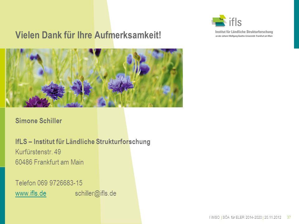Vielen Dank für Ihre Aufmerksamkeit! Simone Schiller IfLS – Institut für Ländliche Strukturforschung Kurfürstenstr. 49 60486 Frankfurt am Main Telefon