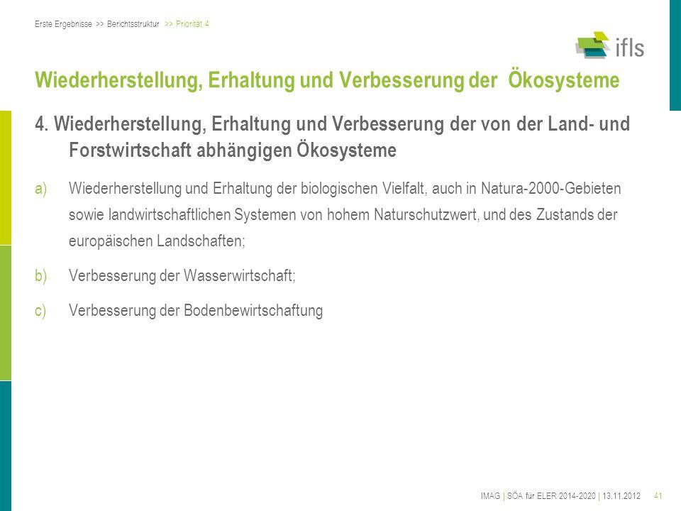 41IMAG | SÖA für ELER 2014-2020 | 13.11.2012 Wiederherstellung, Erhaltung und Verbesserung der Ökosysteme 4. Wiederherstellung, Erhaltung und Verbesse