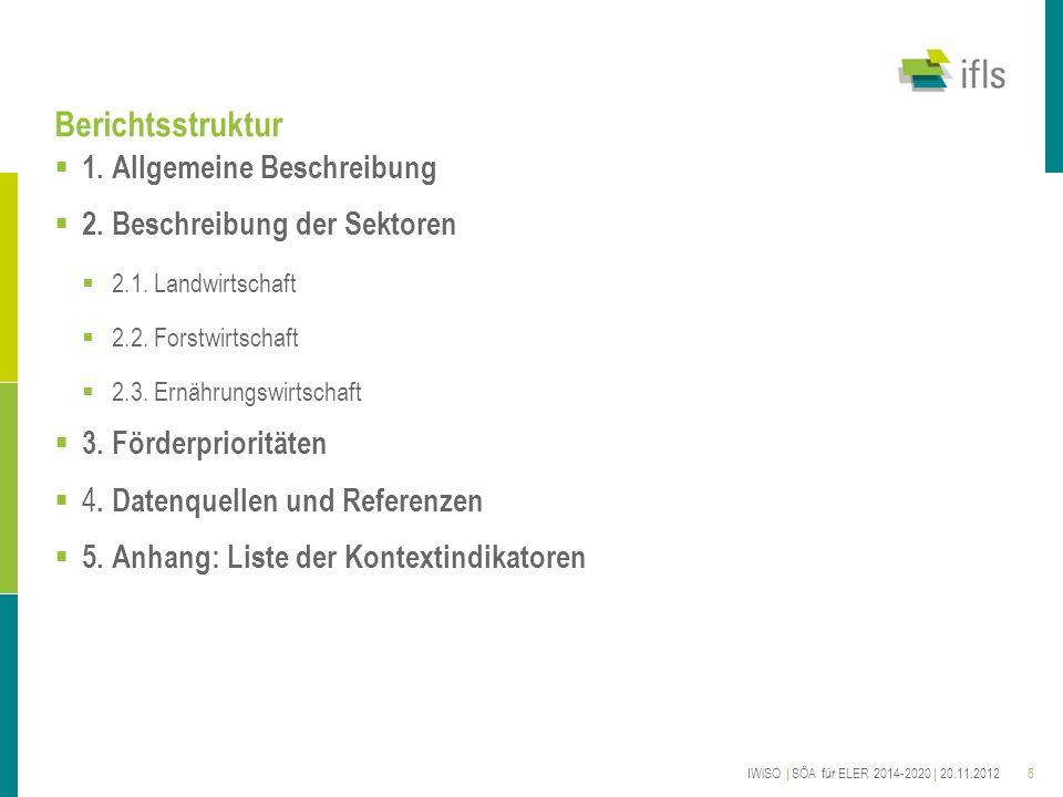 6 Berichtsstruktur 1. Allgemeine Beschreibung 2. Beschreibung der Sektoren 2.1. Landwirtschaft 2.2. Forstwirtschaft 2.3. Ernährungswirtschaft 3. Förde