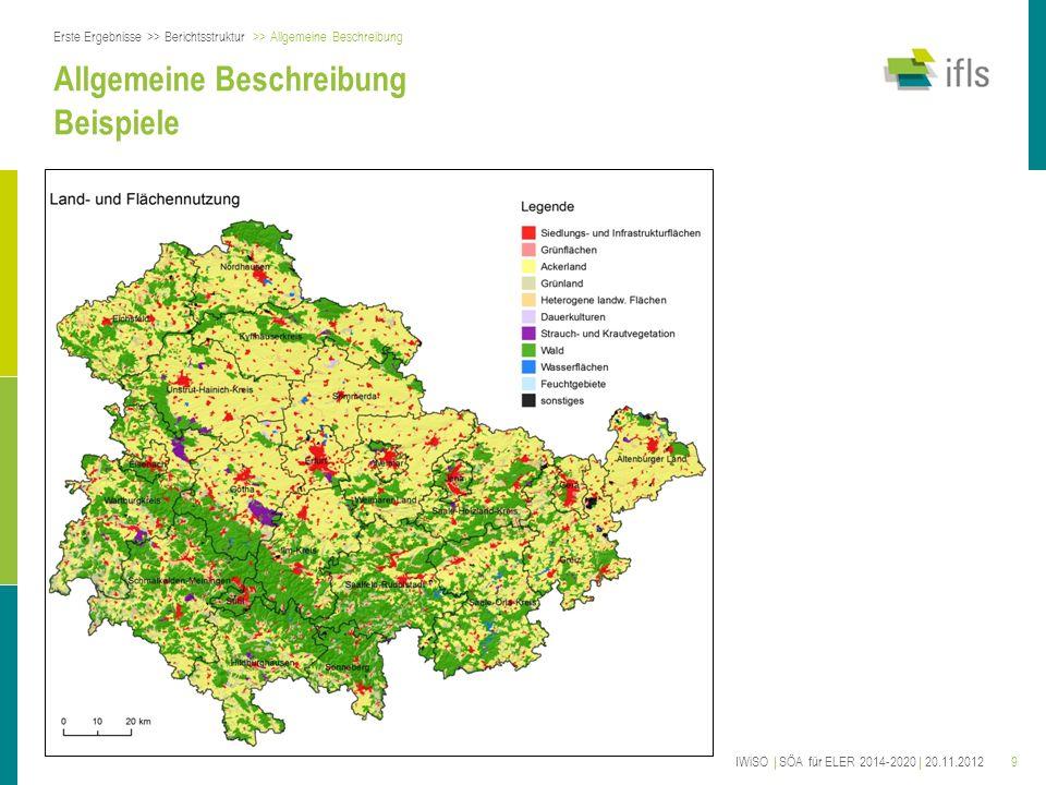 9 Allgemeine Beschreibung Beispiele Erste Ergebnisse >> Berichtsstruktur >> Allgemeine Beschreibung IWiSO | SÖA für ELER 2014-2020 | 20.11.2012