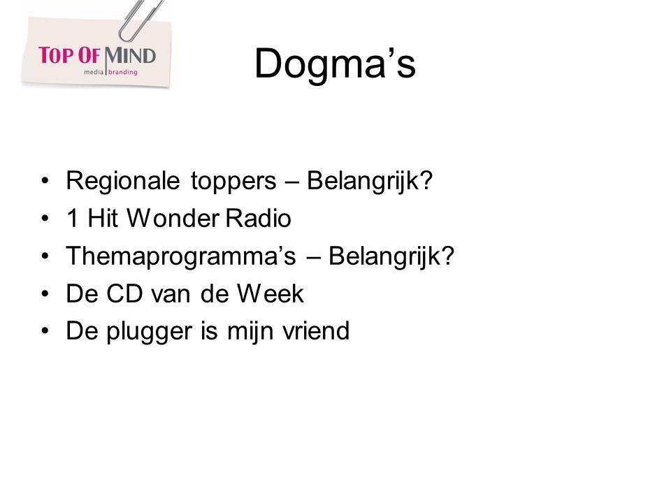Dogmas Regionale toppers – Belangrijk. 1 Hit Wonder Radio Themaprogrammas – Belangrijk.