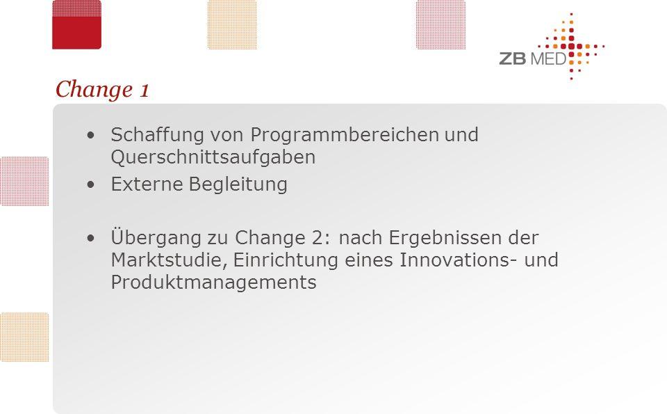 Change 1 Schaffung von Programmbereichen und Querschnittsaufgaben Externe Begleitung Übergang zu Change 2: nach Ergebnissen der Marktstudie, Einrichtung eines Innovations- und Produktmanagements