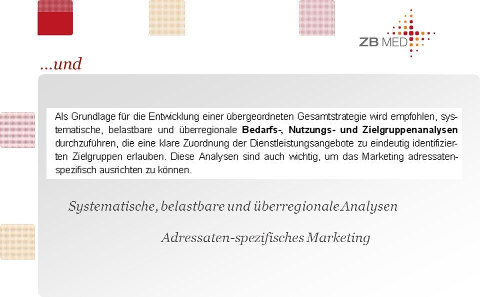 …und Systematische, belastbare und überregionale Analysen Adressaten-spezifisches Marketing