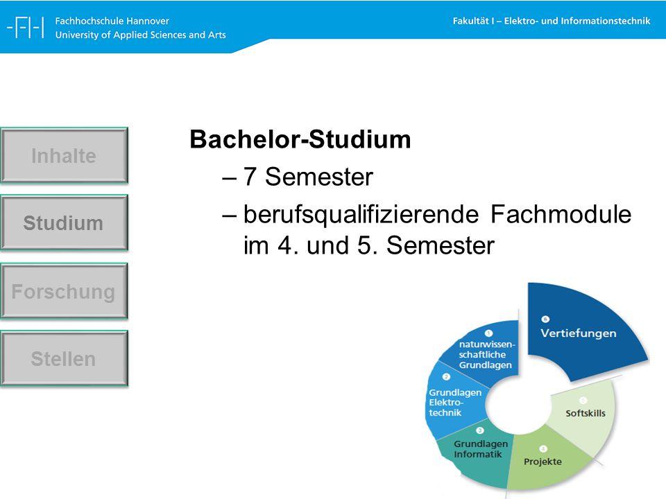 Bachelor-Studium –7 Semester –berufsqualifizierende Fachmodule im 4.