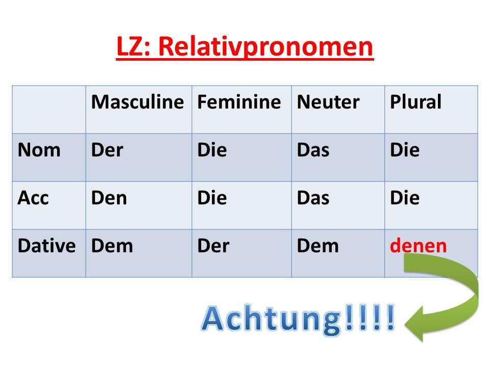 LZ: Relativpronomen MasculineFeminineNeuterPlural NomDerDieDasDie AccDenDieDasDie DativeDemDerDemdenen