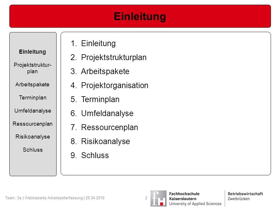 Team: 3a | Webbasierte Arbeitszeiterfassung | 26.04.20102 Einleitung Projektstruktur- plan Arbeitspakete Terminplan Umfeldanalyse Ressourcenplan Risik
