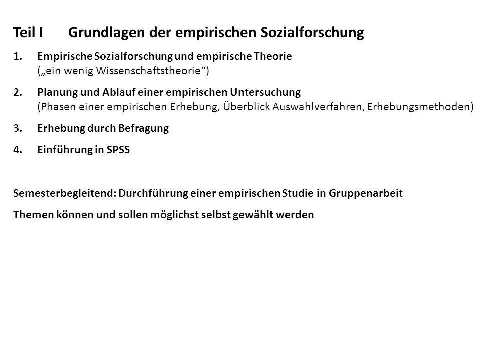Literaturtipps Guter Überblick über Theorie und Umsetzung: Diekmann, Andreas: Empirische Sozialforschung, Reinbek, 1995.