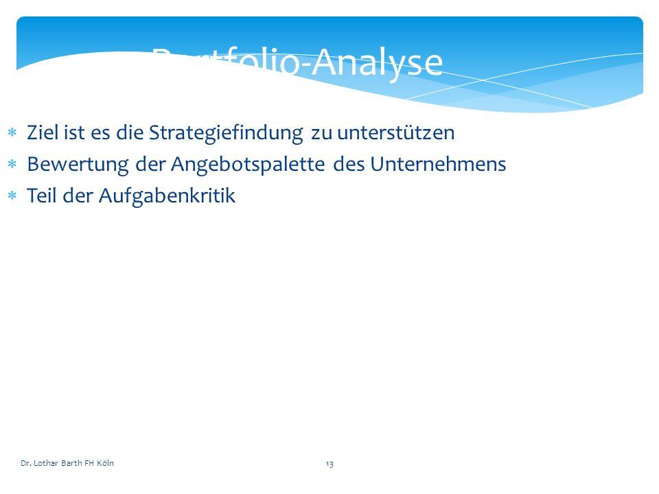 Portfolio-Analyse Ziel ist es die Strategiefindung zu unterstützen Bewertung der Angebotspalette des Unternehmens Teil der Aufgabenkritik Dr. Lothar B