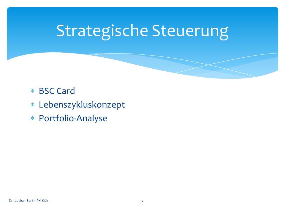 BSC Card Lebenszykluskonzept Portfolio-Analyse Strategische Steuerung Dr. Lothar Barth FH Köln2