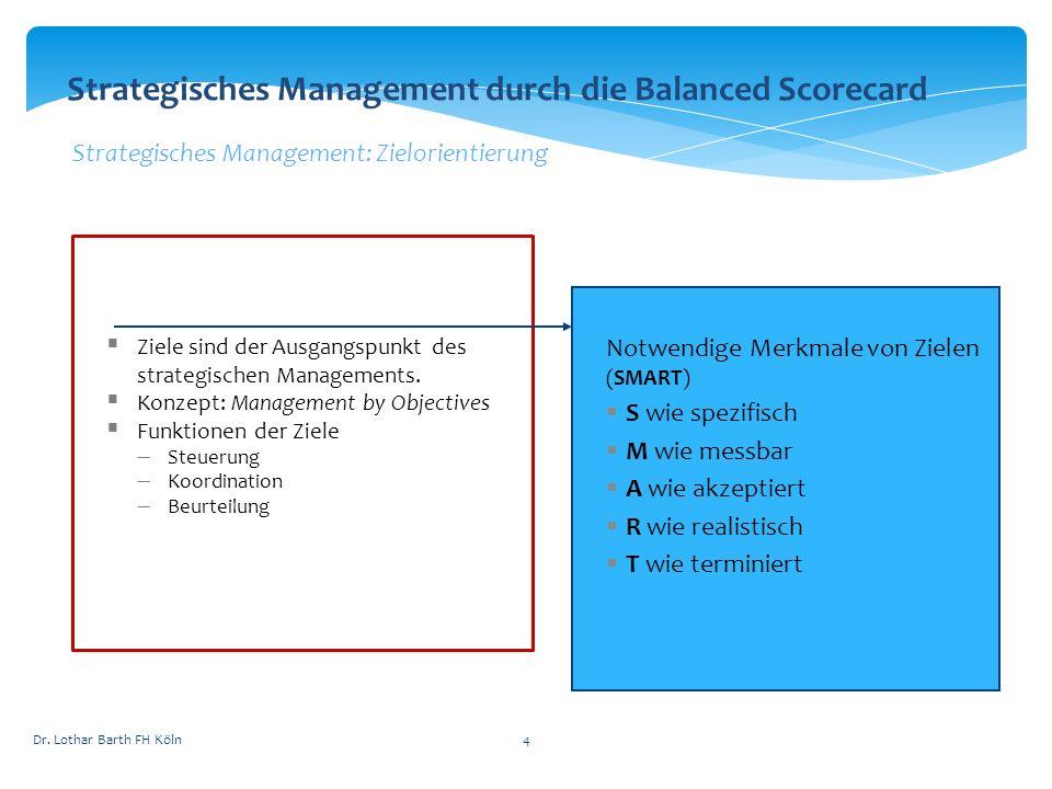 Dr. Lothar Barth FH Köln4 Strategisches Management durch die Balanced Scorecard Strategisches Management: Zielorientierung Ziele sind der Ausgangspunk