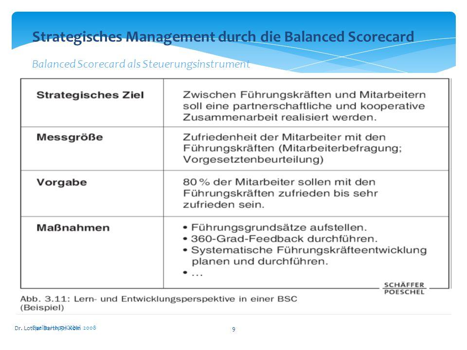 Dr. Lothar Barth FH Köln9 Quelle: Hopp/Göbel 2008 Strategisches Management durch die Balanced Scorecard Balanced Scorecard als Steuerungsinstrument