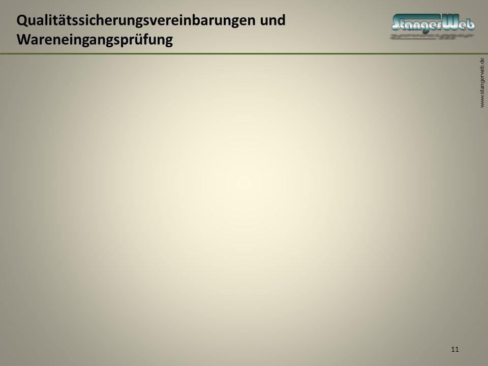 www.stangerweb.de 11 Qualitätssicherungsvereinbarungen und Wareneingangsprüfung