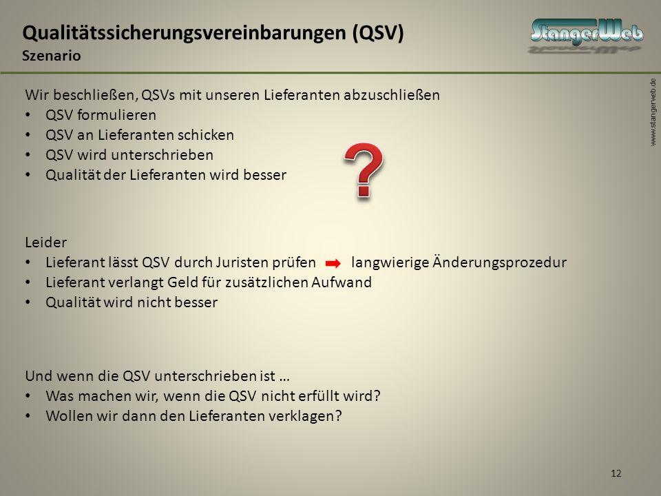 www.stangerweb.de 12 Qualitätssicherungsvereinbarungen (QSV) Szenario Wir beschließen, QSVs mit unseren Lieferanten abzuschließen QSV formulieren QSV