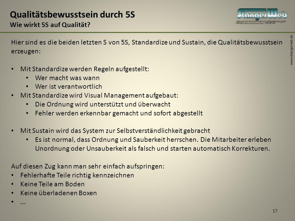 www.stangerweb.de 17 Qualitätsbewusstsein durch 5S Wie wirkt 5S auf Qualität? Hier sind es die beiden letzten S von 5S, Standardize und Sustain, die Q