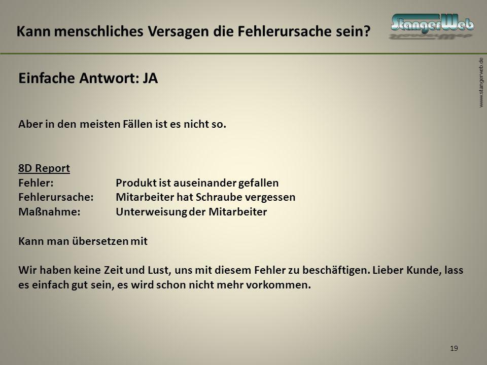 www.stangerweb.de 19 Kann menschliches Versagen die Fehlerursache sein? Einfache Antwort: JA Aber in den meisten Fällen ist es nicht so. 8D Report Feh