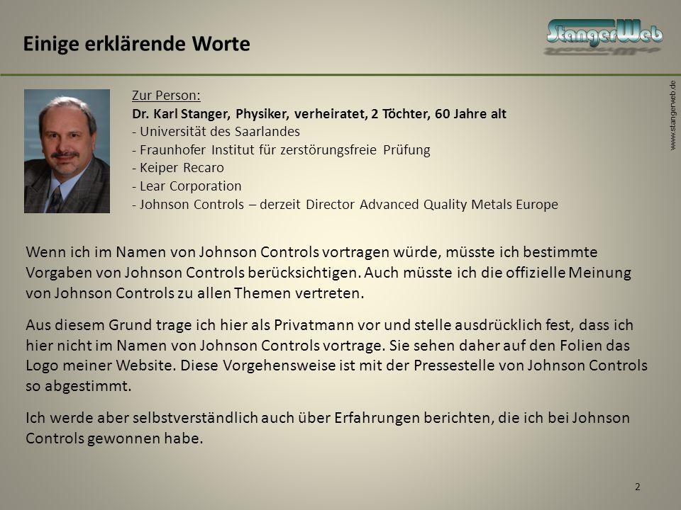 www.stangerweb.de 2 Einige erklärende Worte Zur Person: Dr. Karl Stanger, Physiker, verheiratet, 2 Töchter, 60 Jahre alt - Universität des Saarlandes