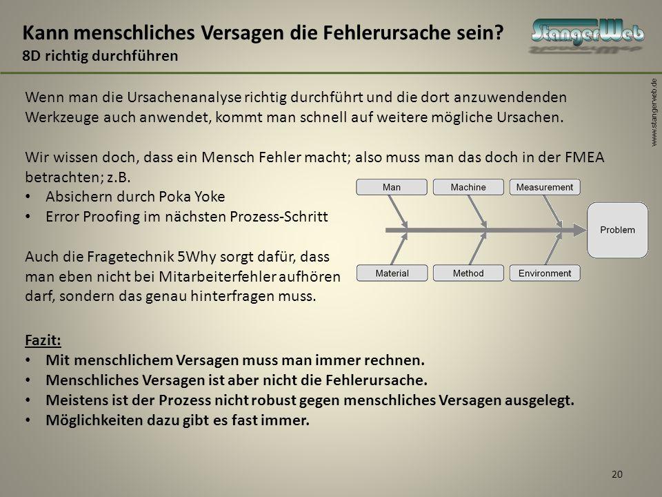 www.stangerweb.de Wenn man die Ursachenanalyse richtig durchführt und die dort anzuwendenden Werkzeuge auch anwendet, kommt man schnell auf weitere mö