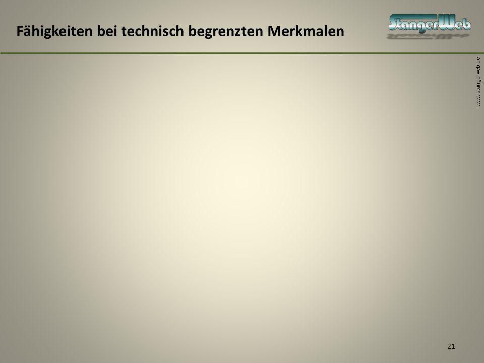 www.stangerweb.de 21 Fähigkeiten bei technisch begrenzten Merkmalen