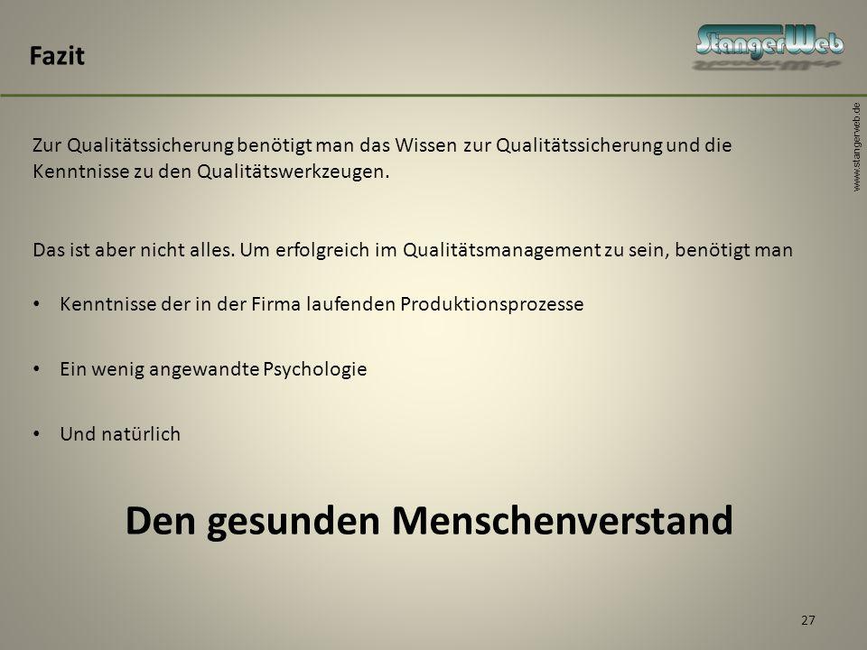 www.stangerweb.de 27 Fazit Zur Qualitätssicherung benötigt man das Wissen zur Qualitätssicherung und die Kenntnisse zu den Qualitätswerkzeugen. Das is
