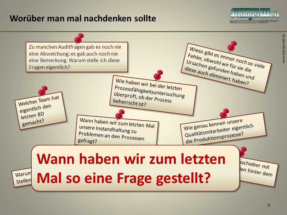 www.stangerweb.de 4 Worüber man mal nachdenken sollte Zu manchen Auditfragen gab es noch nie eine Abweichung; es gab auch noch nie eine Bemerkung. War