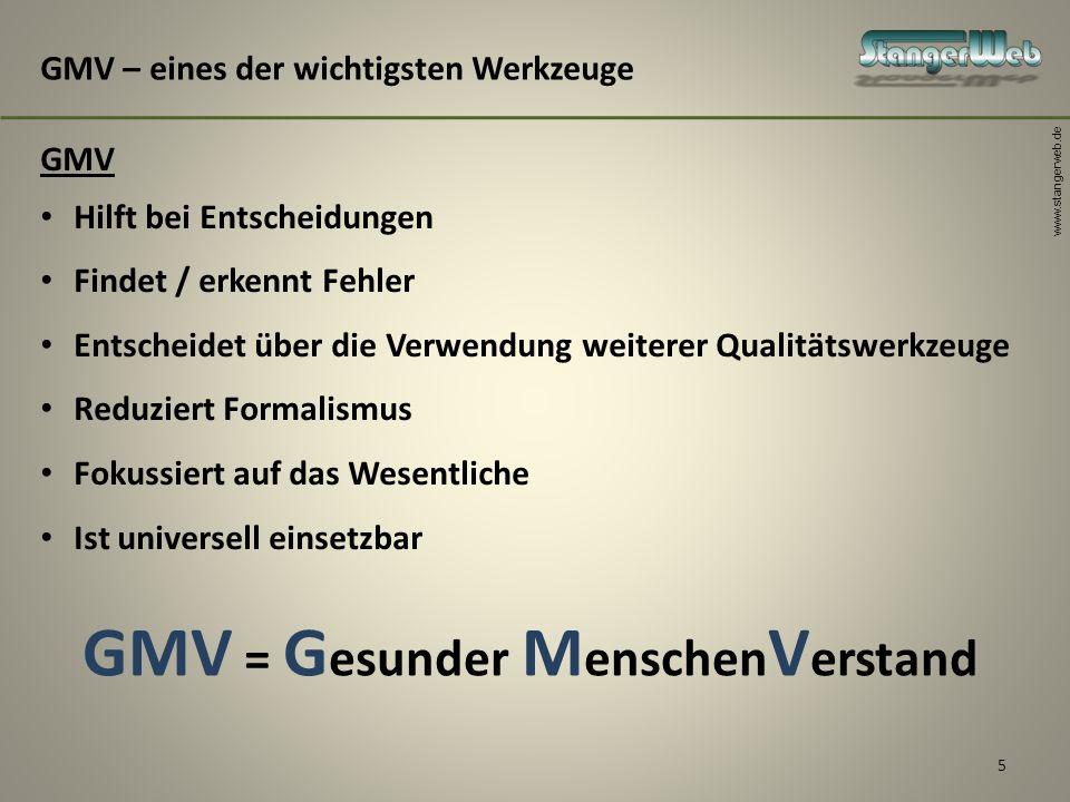 www.stangerweb.de 5 GMV – eines der wichtigsten Werkzeuge GMV Hilft bei Entscheidungen Findet / erkennt Fehler Entscheidet über die Verwendung weitere