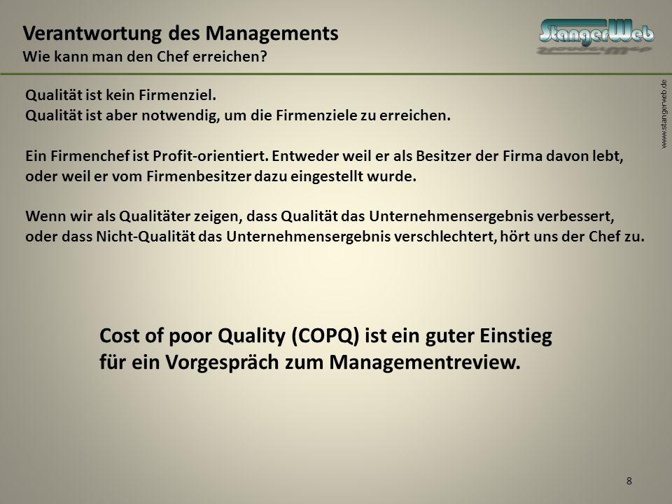 www.stangerweb.de 8 Verantwortung des Managements Wie kann man den Chef erreichen? Qualität ist kein Firmenziel. Qualität ist aber notwendig, um die F