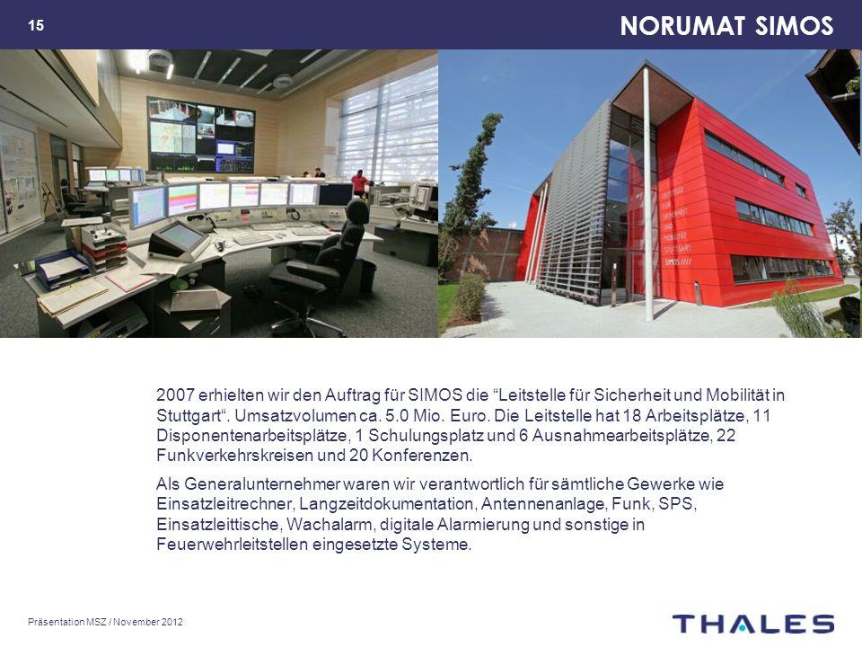 NORUMAT SIMOS Präsentation MSZ / November 2012 15 2007 erhielten wir den Auftrag für SIMOS die Leitstelle für Sicherheit und Mobilität in Stuttgart.