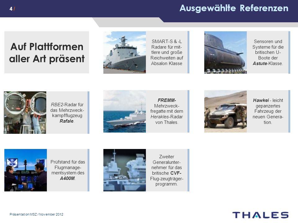 Präsentation MSZ / November 2012 Ausgewählte Referenzen Auf Plattformen aller Art präsent Prüfstand für das Flugmanage- mentsystem des A400M.