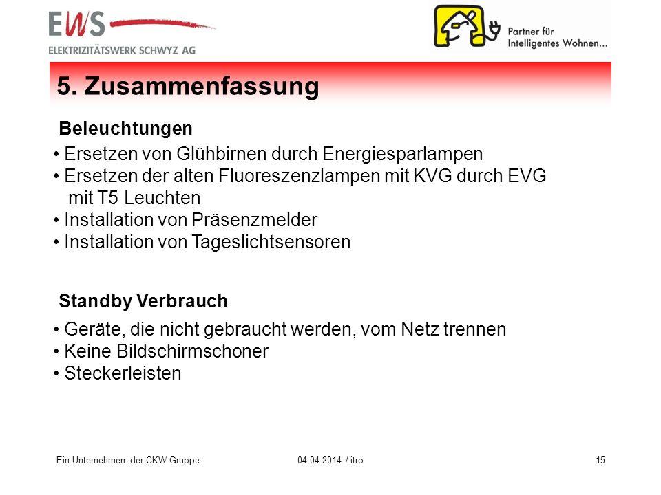 Ein Unternehmen der CKW-Gruppe1504.04.2014 / itro 5.